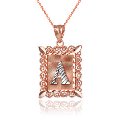 "Two-tone Rose Gold Filigree Alphabet Initial Letter ""A"" DC Pendant Necklace"
