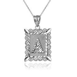 "White Gold Filigree Alphabet Initial Letter ""A"" DC Pendant Necklace"