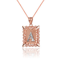 "Two-tone Rose Gold Filigree Alphabet Initial Letter ""A"" DC Charm Necklace"