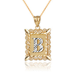 "Two-tone Gold Filigree Alphabet Initial Letter ""B"" DC Pendant Necklace"