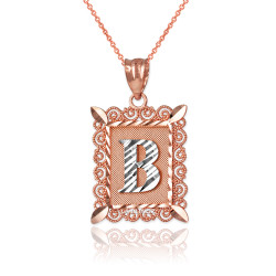 "Two-tone Rose Gold Filigree Alphabet Initial Letter ""B"" DC Pendant Necklace"