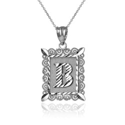 "Sterling Silver Filigree Alphabet Initial Letter ""B"" DC Pendant Necklace"