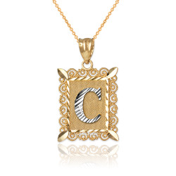 "Two-tone Gold Filigree Alphabet Initial Letter ""C"" DC Pendant Necklace"