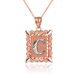 "Two-tone Rose Gold Filigree Alphabet Initial Letter ""C"" DC Pendant Necklace"