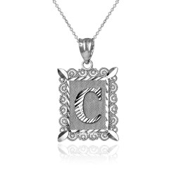 "White Gold Filigree Alphabet Initial Letter ""C"" DC Pendant Necklace"