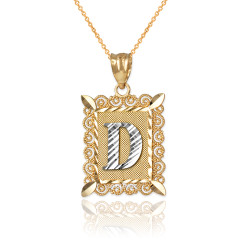 "Two-tone Gold Filigree Alphabet Initial Letter ""D"" DC Pendant Necklace"