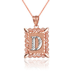 "Two-tone Rose  Gold Filigree Alphabet Initial Letter ""D"" DC Pendant Necklace"
