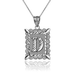"White Gold Filigree Alphabet Initial Letter ""D"" DC Pendant Necklace"