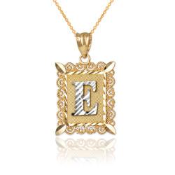 "Two-tone Gold Filigree Alphabet Initial Letter ""E"" DC Pendant Necklace"