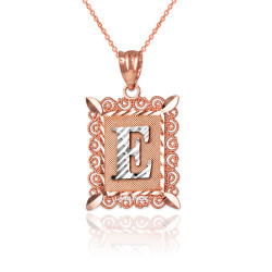 "Two-tone Rose Gold Filigree Alphabet Initial Letter ""E"" DC Pendant Necklace"