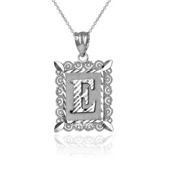 "Sterling Silver Filigree Alphabet Initial Letter ""E"" DC Pendant Necklace"