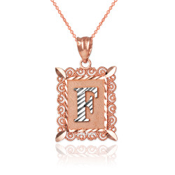 "Two-tone Rose Gold Filigree Alphabet Initial Letter ""F"" DC Pendant Necklace"