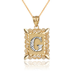 "Two-tone Gold Filigree Alphabet Initial Letter ""G"" DC Pendant Necklace"