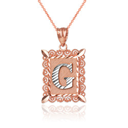 "Two-tone Rose Gold Filigree Alphabet Initial Letter ""G"" DC Pendant Necklace"