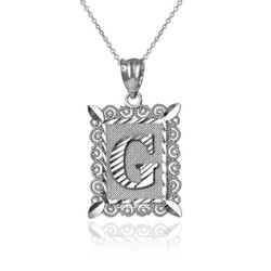 "White Gold Filigree Alphabet Initial Letter ""G"" DC Pendant Necklace"