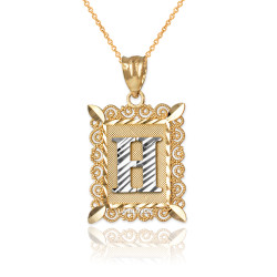 "Two-tone Gold Filigree Alphabet Initial Letter ""H"" DC Pendant Necklace"