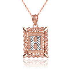"Two-tone Rose Gold Filigree Alphabet Initial Letter ""H"" DC Pendant Necklace"