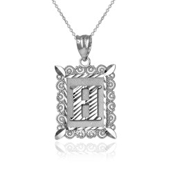"White Gold Filigree Alphabet Initial Letter ""H"" DC Pendant Necklace"