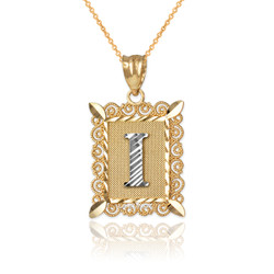 "Two-tone Gold Filigree Alphabet Initial Letter ""I"" DC Pendant Necklace"