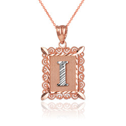 "Two-tone Rose Gold Filigree Alphabet Initial Letter ""I"" DC Pendant Necklace"