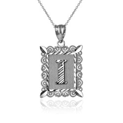 "White Gold Filigree Alphabet Initial Letter ""I"" DC Pendant Necklace"