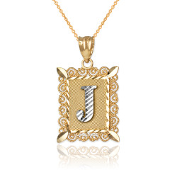 "Two-tone Gold Filigree Alphabet Initial Letter ""J"" DC Pendant Necklace"