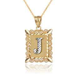 "Two-tone Gold Filigree Alphabet Initial Letter ""J"" DC Pendant Necklace"