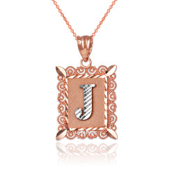 "Two-tone Rose Gold Filigree Alphabet Initial Letter ""J"" DC Pendant Necklace"