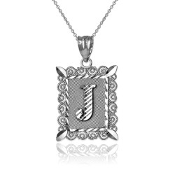"Sterling Silver Filigree Alphabet Initial Letter ""J"" DC Pendant Necklace"