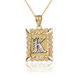 "Two-tone Gold Filigree Alphabet Initial Letter ""K"" DC Pendant Necklace"