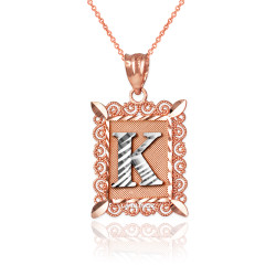 "Two-tone Rose Gold Filigree Alphabet Initial Letter ""K"" DC Pendant Necklace"