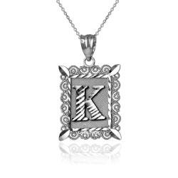 "White Gold Filigree Alphabet Initial Letter ""K"" DC Pendant Necklace"