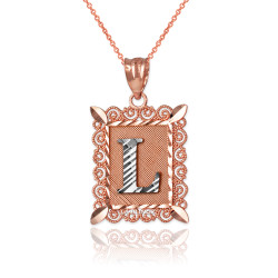 "Two-tone Rose Gold Filigree Alphabet Initial Letter ""L"" DC Pendant Necklace"