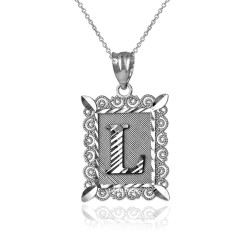 "Sterling Silver Filigree Alphabet Initial Letter ""L"" DC Pendant Necklace"