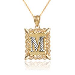 "Two-tone Gold Filigree Alphabet Initial Letter ""M"" DC Pendant Necklace"