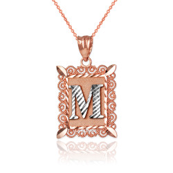 "Two-tone Rose Gold Filigree Alphabet Initial Letter ""M"" DC Pendant Necklace"
