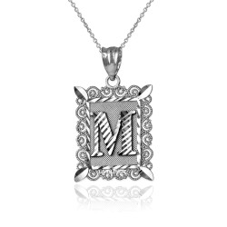 "White Gold Filigree Alphabet Initial Letter ""M"" DC Pendant Necklace"