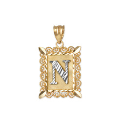 "Two-tone Gold Filigree Alphabet Initial Letter ""N"" DC Pendant Necklace"