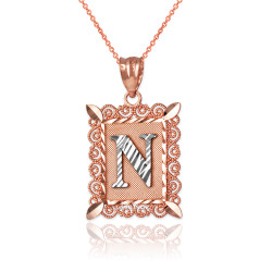 "Two-tone Rose Gold Filigree Alphabet Initial Letter ""N"" DC Pendant Necklace"