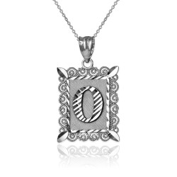 "White Gold Filigree Alphabet Initial Letter ""O"" DC Pendant Necklace"