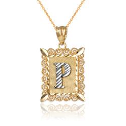 "Two-tone Gold Filigree Alphabet Initial Letter ""P"" DC Pendant Necklace"