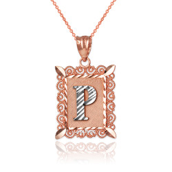 """Two-tone Rose Gold Filigree Alphabet Initial Letter """"P"""" DC Pendant Necklace"""