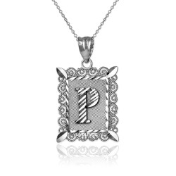 "White Gold Filigree Alphabet Initial Letter ""P"" DC Pendant Necklace"