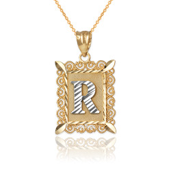 "Two-tone Gold Filigree Alphabet Initial Letter ""R"" DC Pendant Necklace"