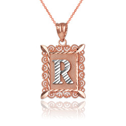 "Two-tone Rose Gold Filigree Alphabet Initial Letter ""R"" DC Pendant Necklace"