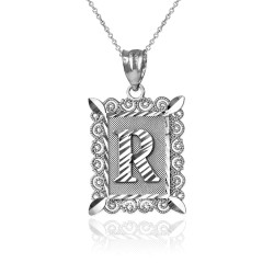"White Gold Filigree Alphabet Initial Letter ""R"" DC Pendant Necklace"