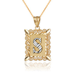 "Two-tone Gold Filigree Alphabet Initial Letter ""S"" DC Pendant Necklace"