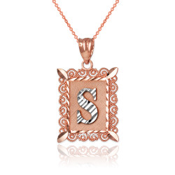 "Two-tone Rose Gold Filigree Alphabet Initial Letter ""S"" DC Pendant Necklace"