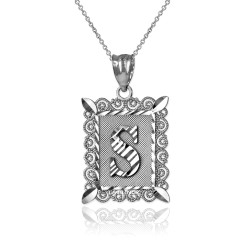 "White Gold Filigree Alphabet Initial Letter ""S"" DC Pendant Necklace"