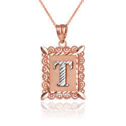 "Two-tone Rose Gold Filigree Alphabet Initial Letter ""T"" DC Pendant Necklace"